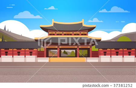 Traditional Korea Temple Over Mountains Landscape 37381252