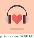 Red heart with headphones 37381401