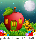 funny caterpillar and a apple house in forest 37381605