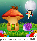 many insect and a mushroom house in forest 37381608