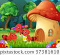 many ants and a mushroom house in forest 37381610