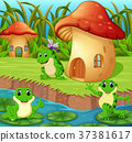Frogs around a mushroom house 37381617