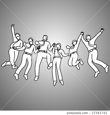 group of businessman jumping with gladness  37381742