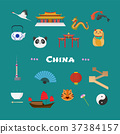 China vector illustration with Chinese landmarks 37384157