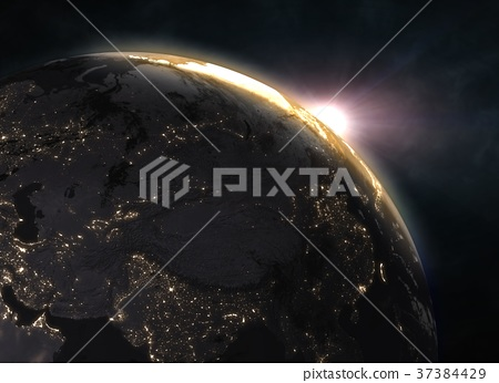 Sunset over planet Earth, Europe 37384429