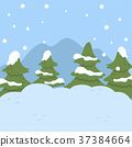 Winter landscape with fir trees, Christmas 37384664