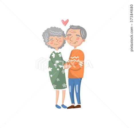 Happy senior couple in love cartoon vector 37384680