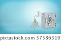3d rendering of a old-fashioned metal safe box 37386310