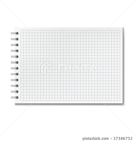 Horizontal vector realistic graph ruled notebook 37386752