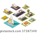 Vector isometric camping icons 37387349