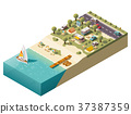 Vector isometric beach camping 37387359