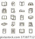 Book Signs Black Thin Line Icon Set. Vector 37387712