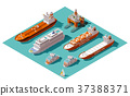 Vector isometric ships and oil rig 37388371