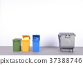 Colorful recycle bins on white background. 37388746