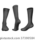 Vector Realistic Football socks Black. Template 37390584