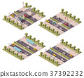Vector isometric pedestrian crossings set 37392232