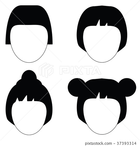 Woman hair, vector hairstyle silhouette 37393314