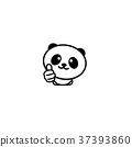 Cute Panda Asian Bear showing like, thumb of hand 37393860