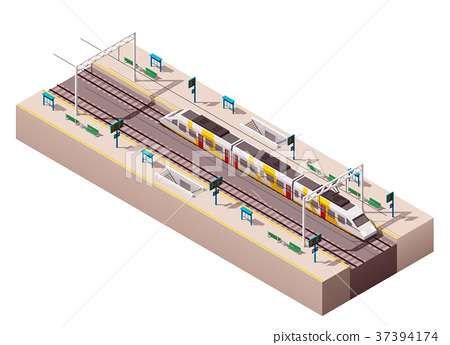 Vector isometric train station  37394174