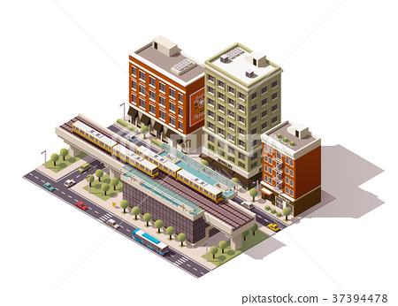 Vector isometric city train station 37394478