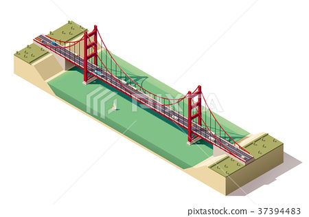 Vector isometric suspension bridge 37394483