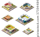 Vector isometric stadiums set 37394484