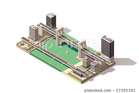 Vector isometric city map 37395391