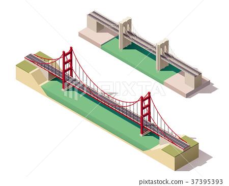 Vector isometric suspension bridge 37395393