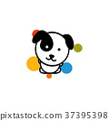 Cute Dog with colorful balls vector illustration 37395398