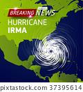 Breaking news TV, realistic Hurricane cyclone 37395614