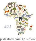 Flat Africa flora and fauna map constructor  37396542