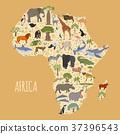 Flat Africa flora and fauna map constructor  37396543
