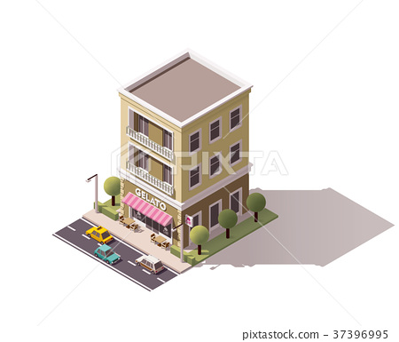 Vector isometric gelateria building 37396995