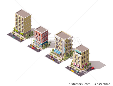 Vector isometric buildings set 37397002