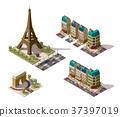 Vector isometric Paris architecture elements 37397019