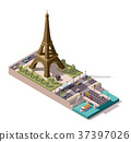 Vector isometric map of the Eiffel Tower 37397026