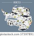 Antarctic, Antarctica,  flora and fauna map 37397891