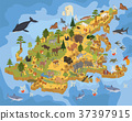 Isometric 3d Asian flora and fauna map  37397915