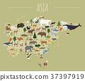Flat Asian flora and fauna map constructor 37397919