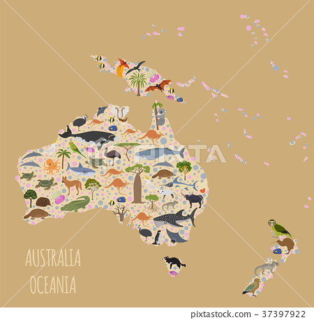 Australia and Oceania flora and fauna map - Stock ...