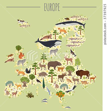 Flat European flora and fauna map constructor 37397925