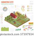 isometric, farm, 3d 37397934