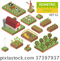 isometric, farm, vector 37397937