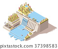 Vector isometric hydro power plant infographic 37398583
