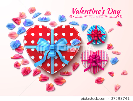 Valentine day gift boxes heart shape Vector realistic 37398741