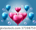 Pink and blue balloons realistic Vector. Heart shape shinny detailed 3d balloons 37398750