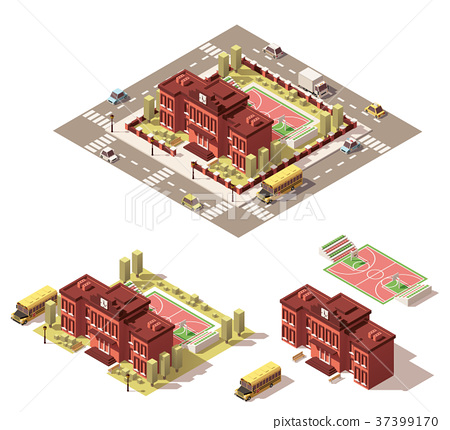 Vector isometric low poly school building icon 37399170