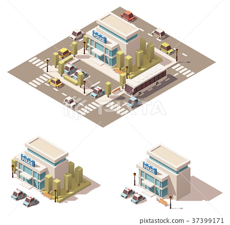 Vector isometric low poly police building icon 37399171