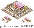 Vector isometric low poly warehouse building icon 37399185