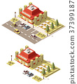 Vector isometric low poly fast food restaurant 37399187